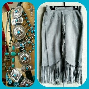 Vintage Fringed Suede Pencil Skirt Gray Sz 9/10